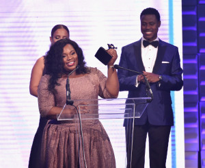 NASHVILLE, TN - OCTOBER 13: Tasha Cobbs speaks onstage during the 46th Annual GMA Dove Awards at Allen Arena, Lipscomb University on October 13, 2015 in Nashville, Tennessee. (Photo by John Shearer/Getty Images for Dove Awards)