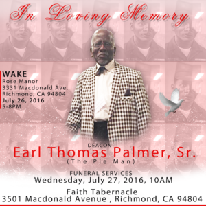 deacon earl thomas palmer