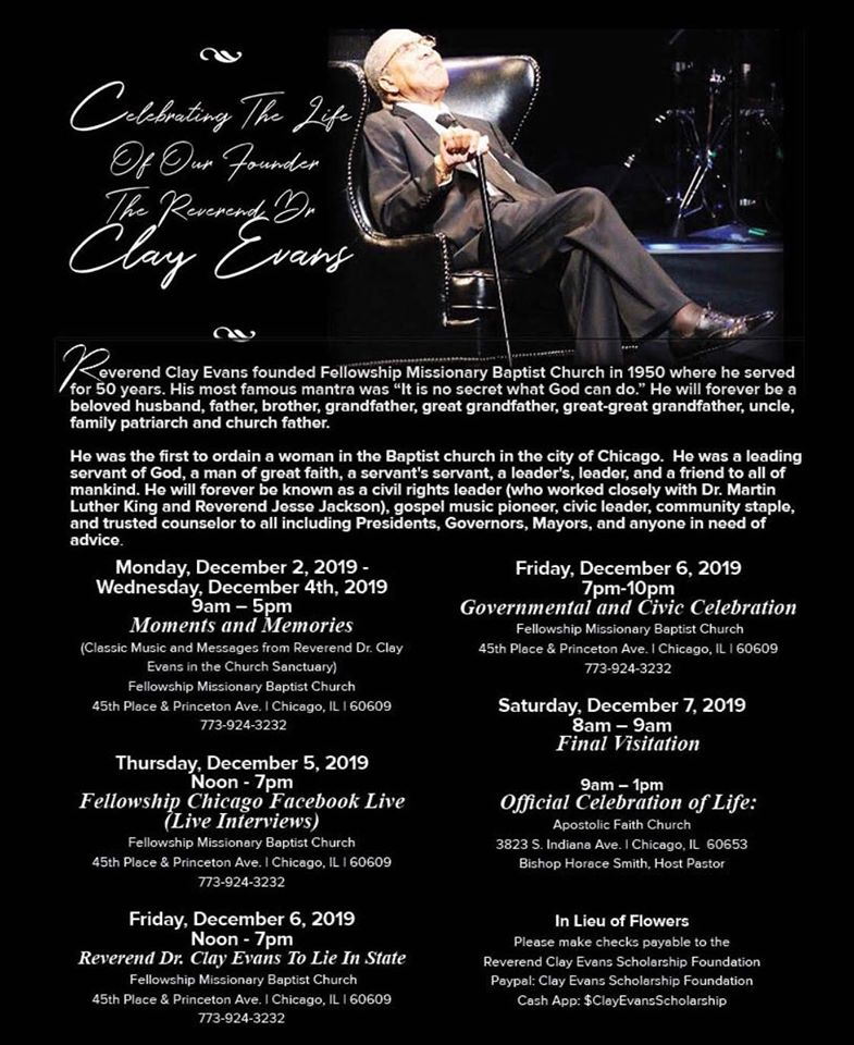 Clay Evans Fellowship Church Christmas December 23, 2020 Homegoing Services for the Rev. Dr. Clay Evans   The Journal of